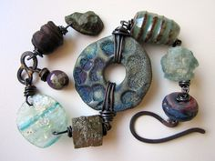 The Noctambulist - primitive assemblage violet purple blue raku focal, Roman glass, lampwork glass, stone nuggets, & copper charm bracelet by LoveRoot, $73.00