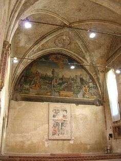 Facing the same little square of Church St. Anastasia, there's a little oratory… Gothic Architecture, Built Environment, Verona, St Anastasia, Painting, Art, Art Background, Painting Art, Kunst