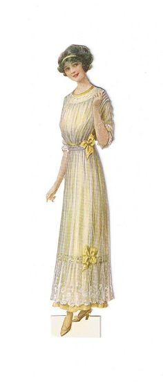 vintage lady fashion 1912, woman in White gown with yellow bows