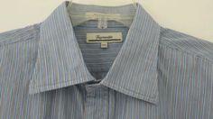 Mens XXL FACONNABLE Long Sleeve Dress Shirt Blue Pin Stripes 2XL