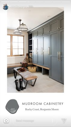 Mudroom Cabinets, Mudroom Laundry Room, Laundry Room Design, Entry Closet, Bedroom Cupboard Designs, Laundry Room Inspiration, Benjamin Moore, Built Ins, Decoration
