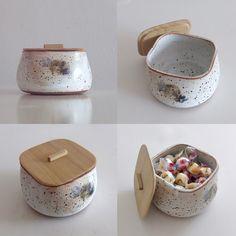 Handmade Ceramic Bowl w/Wooden lid