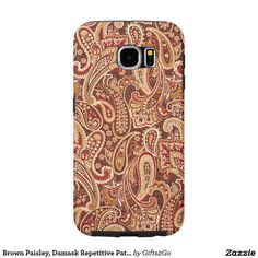 Brown Paisley, Damask Repetitive Pattern Print Samsung Galaxy S6 Cases