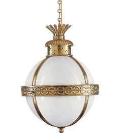 Visual Comfort CHC2111AB-WG E.F. Chapman Crown 3 Light 15 inch Antique-Burnished Brass Foyer Pendant Ceiling Light in (None), Antique Burnished Brass, White Glass #visualcomfort #lightingnewyork #lighting