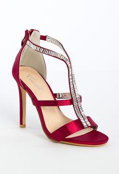 High Heel Back Zipper with Stones Sandal