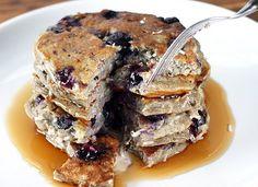 Banana Buckwheat BlueberryPancakes #healthy good for you breakfast!