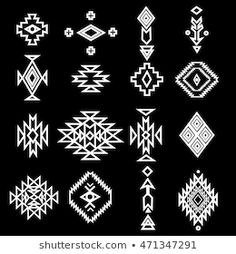hand drawn set collection geometric elements pattern ethnic collection aztec icons tribal art for design logo cards backgrounds Native American Patterns, Native American Symbols, Native American Design, Native Design, Tribal Tattoos Native American, Stencil Patterns, Pattern Art, Pattern Design, Native Symbols