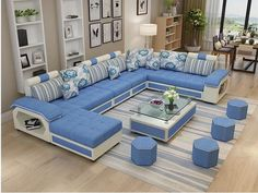 Source Factory wholesale fabric U shaped sectional sofa, modern European style washable living room Corner Sofa Design, Living Room Sofa Design, Living Room Modern, Bed Design, Living Room Designs, Living Room Sofa Sets, Modern Wall, Wall Design, Living Rooms