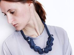 Navy Braid  Knotted necklace with beads von ChezKristel auf Etsy, $45.00