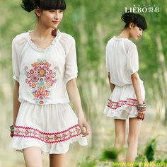 Liebo 2012 New Summer Embroidered Short Sleeve Chiffon Dress