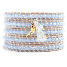 Chan Luu - Periwinkle Mix Cham Bracelet on Beige Leather, $175.00 (http://www.chanluu.com/wrap-bracelets/periwinkle-mix-cham-bracelet-on-beige-leather/)