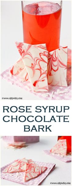 Rose syrup chocolate bark. White chocolate bark with swirls of rose syrup....This has to be the prettiest and most fragrant bark ever. Great for gift-giving too! From cakewhiz.com