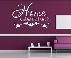 @Kari Jones Stroik what do you think for above the couch in the front living room?  Vinyl Wall Art - HOME is where the heart is - with ivy - 15h x 22.5w....family wall decal. $19.00, via Etsy.