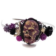 Zombie Headband-Zombie Wedding-Undead Bride-Halloween Wedding-Zombie Hair Comb-Purple Headband-Zombie Bobby PIns-Zombie Hair Slides-Spooky Zombie Hair, Cow Logo, Zombie Wedding, Hair Slide, Christmas Shopping, Bobby Pins, Bracelet Watch, Unique Gifts, Fashion Accessories