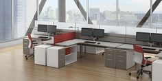 Open Plan Designed for individual focus work, these workstations feature low horizontal proportions with ample surface area and storage. Office Furniture Design, Workspace Design, Office Interior Design, Office Interiors, Furniture Ideas, Open Office Design, Corporate Office Design, Office Designs, Office Ideas