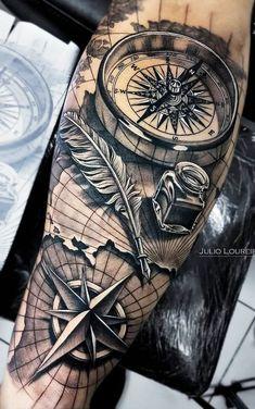 - tattoos sleeve - Einfach nur geil - tattoo old school tattoo arm tattoo tattoo tattoos tattoo antebrazo arm sleeve tattoo Forarm Tattoos, Map Tattoos, Best Sleeve Tattoos, Sleeve Tattoos For Women, Tattoo Sleeve Designs, Arm Tattoos For Guys, Tattoo Designs Men, Tattoo Quotes, Nautical Tattoo Sleeve