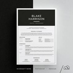 cv template blake resumecv template word photoshop indesign professional resume