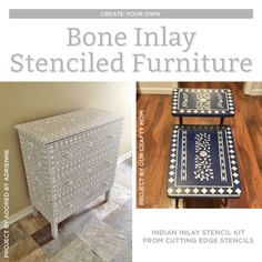 How To Paint A Bone Inlay Style Using the Indian Inlay Stencil Kit Good morning, my Cutting Edge Stencils fans. A piece of bone inlay furniture can take a huge chunk out of your wallet. That's why we're going to let you in on our little secret. Using a little bit of paint and our stencil
