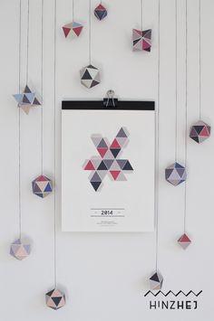 """Kalender - Kalender 2014 – """"Geometrie"""" - ein Designerstück von hinzhej bei DaWanda"""