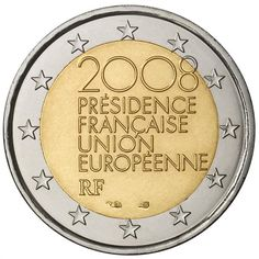 N♡T.2 euro: French Presidency of the Council of the European Union.Country:France  Mintage year:2008 Issue date:July 2008 Face value:2 euro Diameter:25.75 mm Weight:8.50 g Alloy:Bimetal: CuNi, nordic gold Quality:Proof, BU, UNC Mintage:20 mil. pc