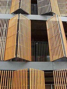 Apartments Wilanowska Warsaw by JEMS Architekci Architecture Design, Bamboo Architecture, Facade Design, Exterior Design, House Design, Building Skin, Building Facade, Building Design, Privacy Fence Designs