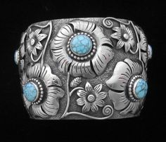 Cuff bracelet | Larry Martinez Chavez (Navajo).  Sterling silver and No 8 Turquoise