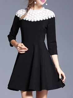 Black Paneled Skater Stand Collar Elegant Mini Dress