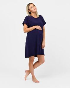 The nightdress that every mother needs, Rosie offers simplicity and complete comfort along with all of the benefits that organic bamboo brings. The gentle drape of this soft and stretchy nightdress means you can move around freely and comfortable, perfect for all-day weekend wear.  Organic bamboo Mid-length sleeves Knee length Thermoregulating sleepwear Natural and hypoallergenic bamboo benefits including odour-wicking, antibacterial Designed and handcrafted in Australia Technology Design, Weekend Wear, Mid Length, Bamboo, Maternity, Bring It On, Dresses For Work, Australia, Organic