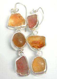 Long Asymmetrical Statement Earrings with by laurastamperdesigns