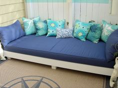 "I'm missing our daybed.... having some ideas.... this one made a cushion from 5"" foam.   love the colors"