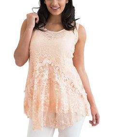 Another great find on #zulily! Pink Floral Lace Sleeveless Tunic #zulilyfinds