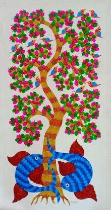 Blue gond Traditional Art by Choti Gond Artist on Canvas, Animals based on theme Choti Gond Artist Fabric Paint Designs, Indian Folk Art, Madhubani Painting, Blue Painting, Buy Art Online, Tree Designs, Mural Art, Selling Art, Tribal Art