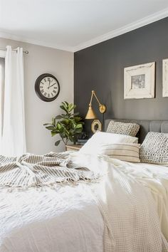 master bedroom paint colors Neutral paint colors for creating a beautiful high contrast home. Bedroom Wall Colors, Accent Wall Bedroom, Home Decor Bedroom, Bedroom Neutral, Paint Ideas For Bedroom, Bedroom Black, Gray Bedroom Walls, Gray Accent Walls, Colors For Bedrooms