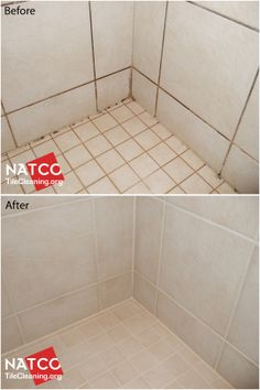 before and after pictures of cleaning shower mold resealing grout
