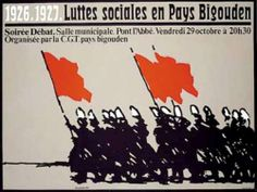 """Gréve des sardiniéres du pays bigouden en 1926-27 , affiche créée par Alain Le Quernec. Le  slogan de ces femmes en lutte est celui-ci : """"Pemp real a vo"""", cinq réaux (un réal=un quart de franc ) nous aurons"""", selon la syntaxe de la langue bretonne."""