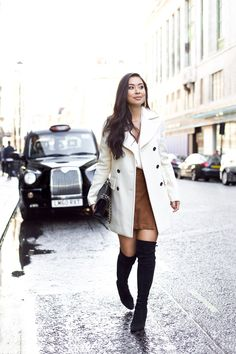 Cream trench coat, tan suede / leather skirt, black over the knee boots