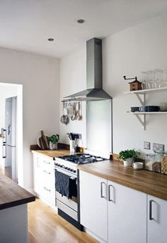 A minimal white kitchen