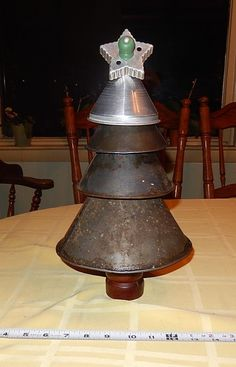 Primitive Metal Funnel Christmas Tree w VTG Cookie Cutter  & Wood Pepper Mill #NaivePrimitive
