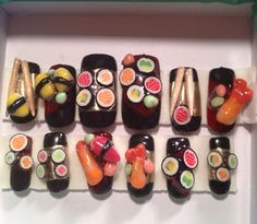 Super yummy 3d Sushi Nails  False/fake nails  by KawaiiClaws, $26.99