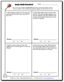 Free Daily Math Puzzlers Level C Sample Activity page - Math word problems for grades 4 and 5