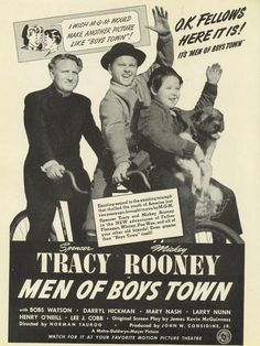 1941 Movie Ad Men Of Boys Town Spencer Tracy Mickey Rooney Motion Picture MGM