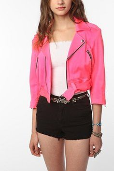 Tripp NYC Neon Pink Denim Moto Jacket. Love everything PINK