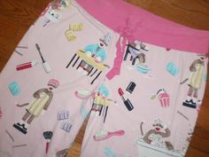 WOMENS large NICK & NORA pink PAJAMA PANTS bottoms SOCK MONKEY make-up BEAUTY #NickNora #LoungePantsSleepShorts