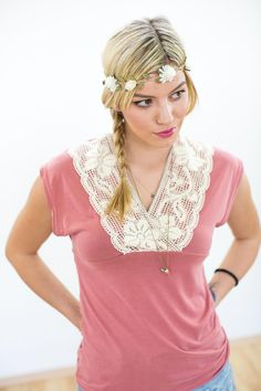 Romantisch verspieltes Shirt in Pink mit Spitze, Boho, Hippie, Flower-Power, Blumenkind, Festival / cute romantic tee with lace for festival summer made by SHOKO® Shop via DaWanda.com