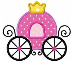 Princess carriage applique machine embroidery design. $4.00, via Etsy.
