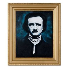 """Accoutrements Edgar Allan Poe Oil Painting by Accoutrements. $36.17. Comes in gold-colored frame. Adds a touch of class to any room. Hand painted. From the Manufacturer                This hand-painted oil painting is a portrait of Edgar Allan Poe looking pale and dour. It would look great hanging in your den or study, but for the full effect we suggest hanging it down in the basement under a black light. Each work of art is set in an 11"""" x 13"""" (27.9 cm x 33 cm)..."""