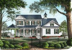 Image result for victorian farmhouse designs   For the Home     Elevation of Country Farmhouse Victorian House Plan 86246