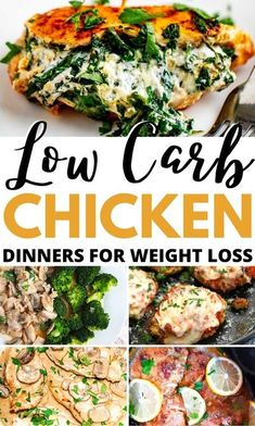 Easy low carb chicken dinners and quick keto chicken recipe ideas to try TONIGHT. If you�re sick of having the same boring dinners day-after-day try these new and exciting ketogenic dinner recipes such as keto slow cooker chicken breast with garlic and le Healthy Chicken Dinner, Keto Chicken, Healthy Dinner Recipes, Healthy Tips, Lunch Recipes, Healthy Food, Yummy Food, Chicken Fajita Recipe, Yummy Chicken Recipes