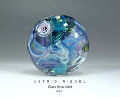 Lilac rose Glass lampwork focal bead 37mm By by AstridRiedel