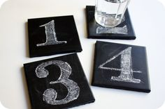 Crazy Wonderful: chalkboard coasters - tutorial.... have some ugly old ceramic tiles that would be so much cuter this way!!